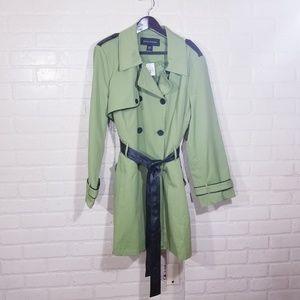 Ashley Stewart sz 26W pea green Trench coat NEW